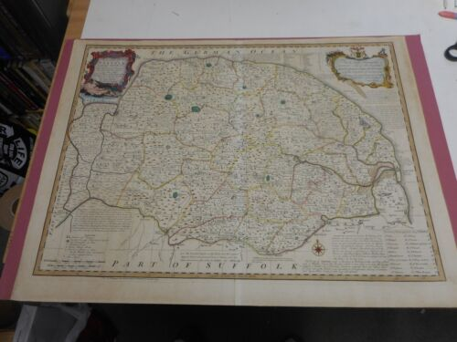 100% ORIGINAL LARGE MAP NORFOLK  BY E BOWEN/J TINNEY C1753 VGC HAND COLOURED