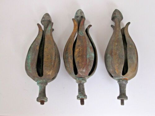 """3 Antique 7"""" Metal Flower and Pod Finials"""