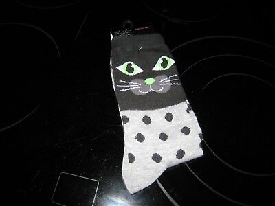 NEW LADIES HALLOWEEN CREW SOCKS SHOE SIZE 4-10- CUTE CATS-NEW WITH FREE SHIPPING