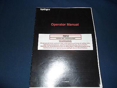 Upright Tm12 Man Mast Lift Operator Operation Maintenance Book Manual