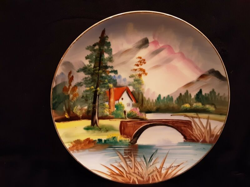 Hand painted plate signed by artist E Haregawa - house by the lake - great color