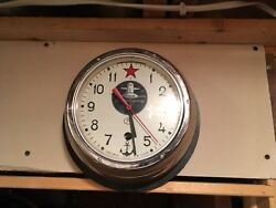 Large USSR CCCP Soviet Union Cast Iron Red October Submarine Wall Clock