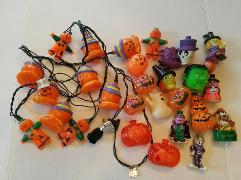 VINTAGE HALLOWEEN BLOW MOLD PLASTIC 10 STRING LIGHTS + 18 EXTRA COVERS WORKS