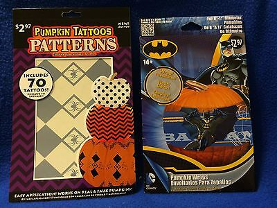 SET OF 2 PUMPKIN TATTOOS & BATMAN PUMPKIN WRAPS (NEW)  (Pumpkin Tattoos)