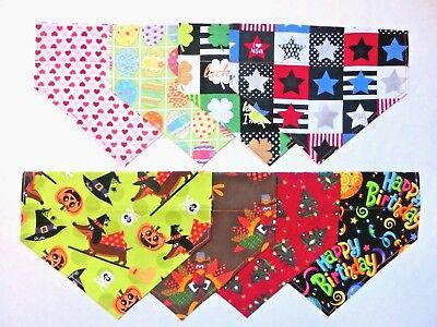 8PACK DOG GROOMING BANDANAS THANKSGIVING CHRISTMAS EASTER HAPPY BIRTHDAY Costume (Doggy Christmas)