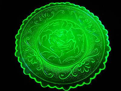 Green Vaseline Rose pattern glass plate uranium jewelry Flower saucer yellow art