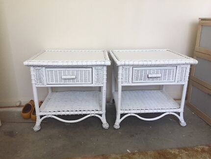 White wicker cane lounge side tables