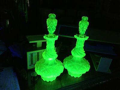 pair antique vaseline uranium cut glass cologne bottles intense glow as is