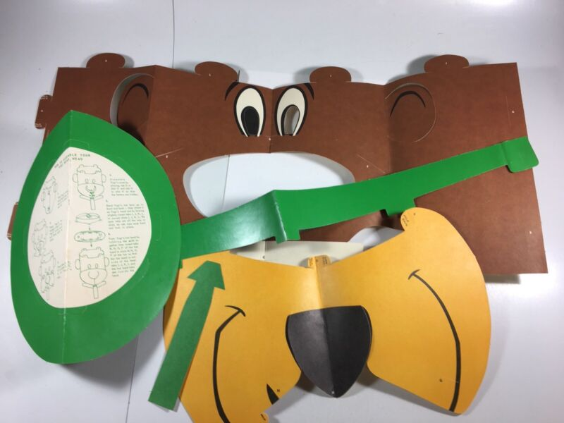Vintage Yogi Bear Mask Head-COMPLETE-Purina(?) Giveaway w Mailer