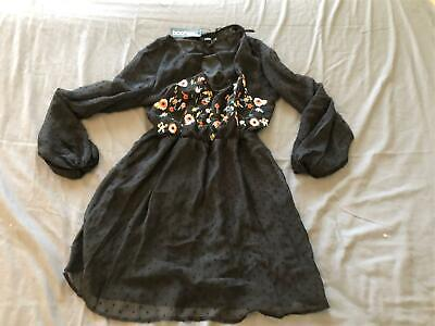Boohoo Women's Plus Lucy Embroidered Chiffon Skater Dress BE9 Blacck Size 14 NWT