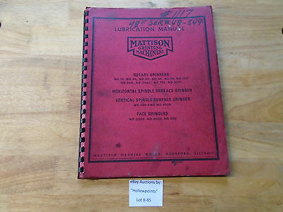 B85 Mattison Surface Grinder Lubrication Manual No. 24 48 60 84 96 108 Hor Vert