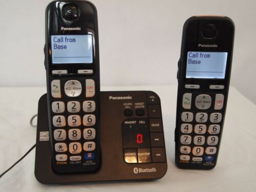 Panasonic KX-TGE260B Cordless Phone & Base 2 Phones Batteries  Answering Machine