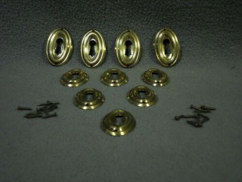 (B)10 BRASS KEYHOLE ESCUTCHEONS w/Nails Skeleton key cover plate oval round lock