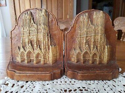 """Vintage Notre-Dame Cathedral de Reims France Bookends 7""""t×5.75""""w×3""""d"""