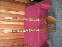 Vintage 1970's Giant Wooden Spoon and Fork Sisters Beach Waratah Area Preview