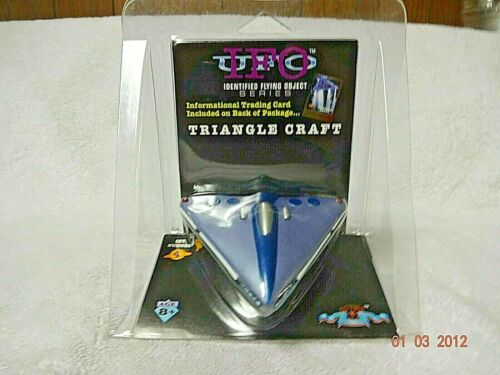 New UFO IFO Series 1997 Triangle Craft with Stand & Card By Shadow Box