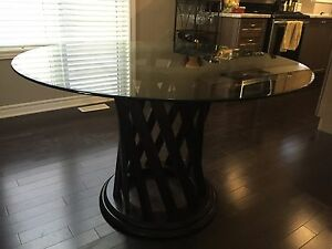 Dining Table - Dark Wood Stain with Round Glass Top