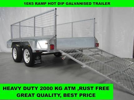 10x5 FULLY WELDED RAMP HOT DIP GALVANISED TRAILER 2000 KG GVM