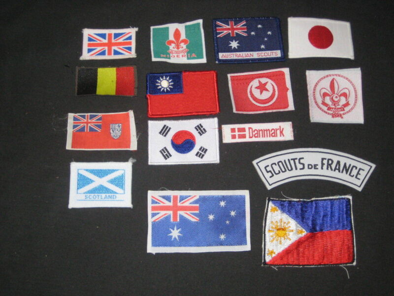 15 Boy Scout National Flag Patches & Segments            fx
