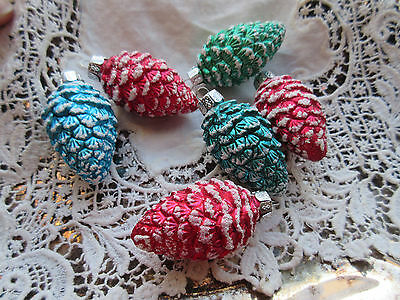 NEW Set of 6 Small Glass Pine Cone Christmas Ornaments Red Green Blue Teal