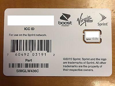 Sprint Boost Ting Nano Sim Card SIMGLW436C 4G LTE iPhone 6 6+ 6S 6S+ iPad Air