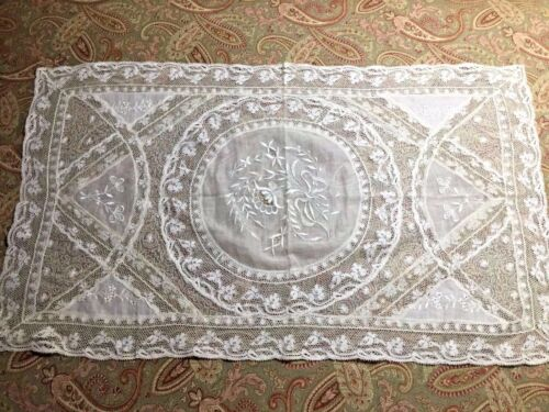 "French Antique (1890) Handmade Normandy Lace 14"" x 24"""