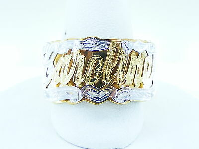14k Gold Double Ring (PERSONALIZED 14K GOLD GP  NAME RING DOUBLE 3D W/ HEART (ANY NAME UP TO 7 LETTERS )
