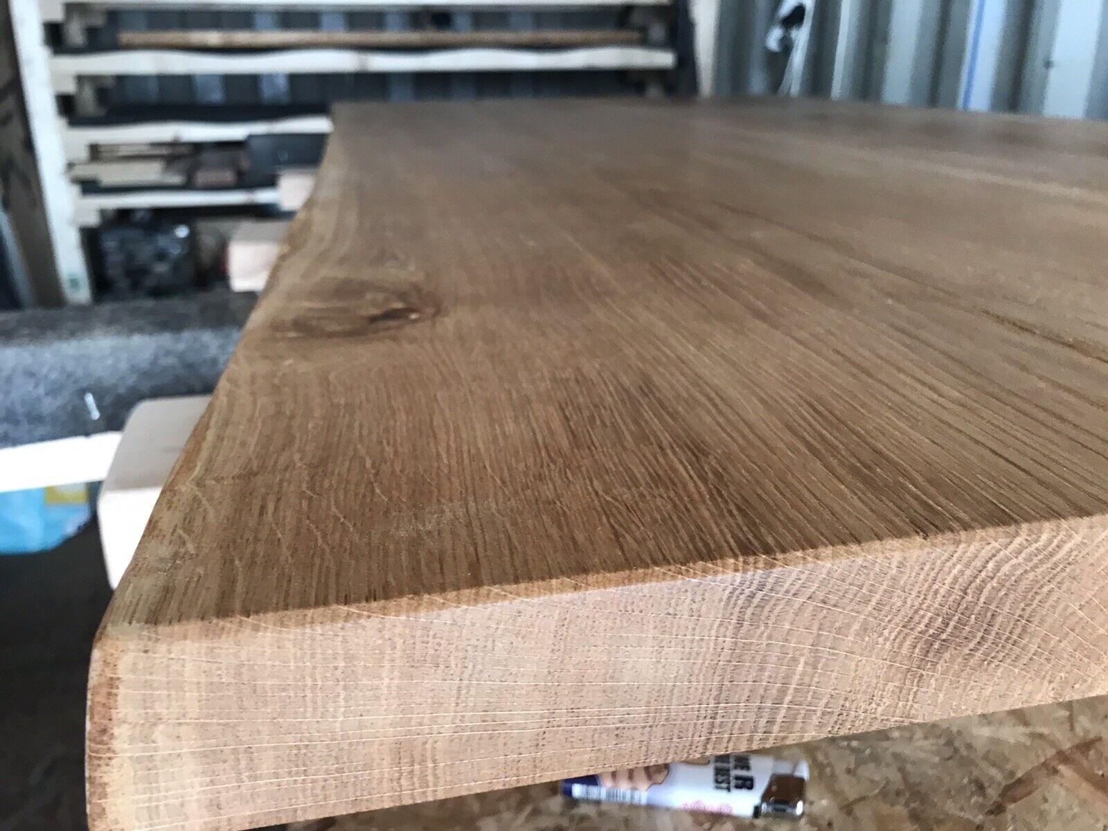 Massivholz Tischplatte Esstisch Baumkante Eiche rustikal geölt 180 x 90 cm 40mm 1