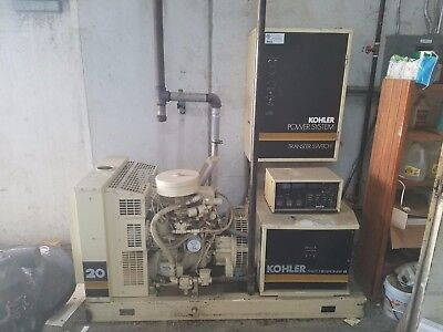 Kohler 20kw Commercial Generator W Transfer Switch - 1 3 Phase -excellent