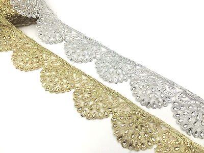 Fancy Pearl Bridal Lace Trim Ribbon Sewing On Craft Wedding Sari Border x 7Cm Fancy Lace Trim