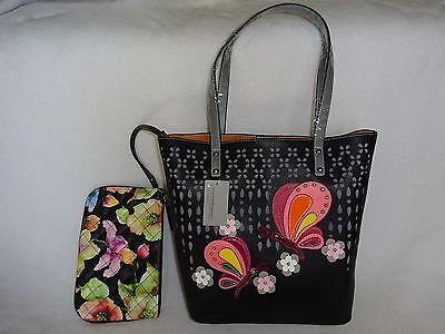 e4c3aac21c0a NEW SHARIF PERFORATED COLLAGE BUTTERFLY TOTE WRISLET 2PC BLACK BAG PURSE  SET MG