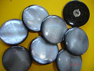 3 Knöpfe perlmuttschimmernd silbergrau 29mm Annähöse W98.1