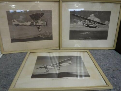 Lot of Three Frames Vintage Airplane Prints-Phillips Petroleum Co