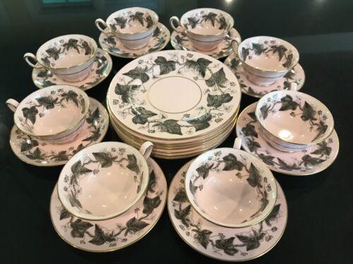 WEDGWOOD ALPINE PINK TEA SET--Eight cups, saucers, and dessert plates
