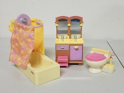 Fisher Price Loving Family Dollhouse Bathroom Furniture- Sink, Tub, and Toilet