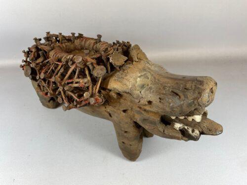 210507 - Old Tribal used African Fetisch Bakongo Nkisi Nkondi dog - Congo.