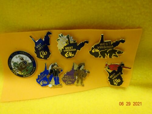 BPOE ELKS 7 different West Virginia State Elks Pins. Buy Now ,Free Shipping!!