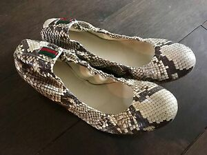 Gucci Python Leather Ballerina Flats 37