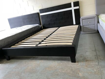 Brand new leather bed frame with super strong bed slats flat pack