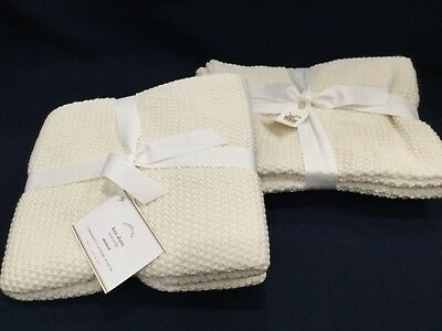 (2 new nwt White Pottery Barn Foundations Knit Shams Euro Standard Bed Pillow)