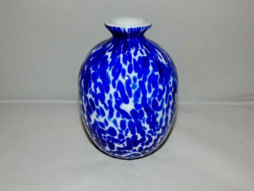 """Gibson Art Glass Cabinet Vase Cobalt Blue & White Oil Spot 5.5"""" Tall Boho"""