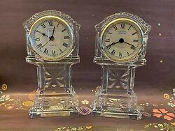 Crystal Legends Godinger Quartz 24% Lead Crystal Sm Grandfather Clock Set of 2