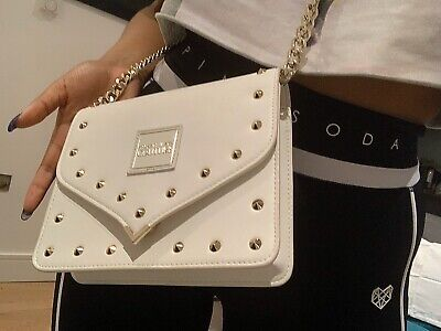 Brand New Ladies Versace Jeans Couture Stud Small Shoulder Bag In White