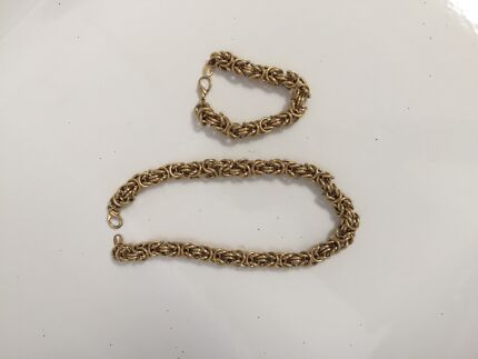 Gold rope necklace and bracelet