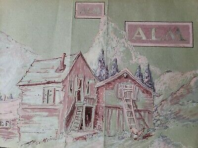 Vintage Alm Alps Rocky Mountain Mixed Media Painting 8.5×12.75
