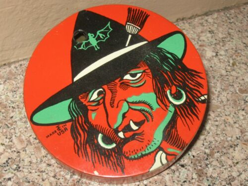 Vintage Halloween Tin T. Cohn Tin Ratchet Noise Maker- Witch- Old Hag