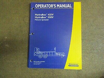 New Holland 425 V 550 V Manure Spreader Owners Maintenance Manual