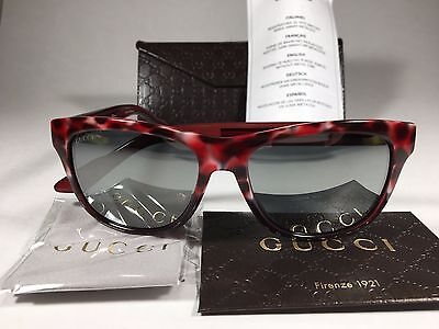 Authentic Gucci Sport Sunglasses Red Havana Leopard Gray Mirror Lens New (Gucci Sport Sunglasses)