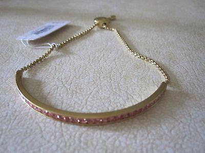 NWT Michael Kors Gorgeous Slider Bracelet/  Gold Tone w/ Pave Pink Crystals