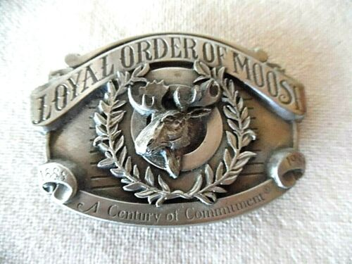 LOYAL ORDER OF MOOSE PEWTER BELT BUCKLE 1888-1988 LMTD ED 1929/5000 EX CD